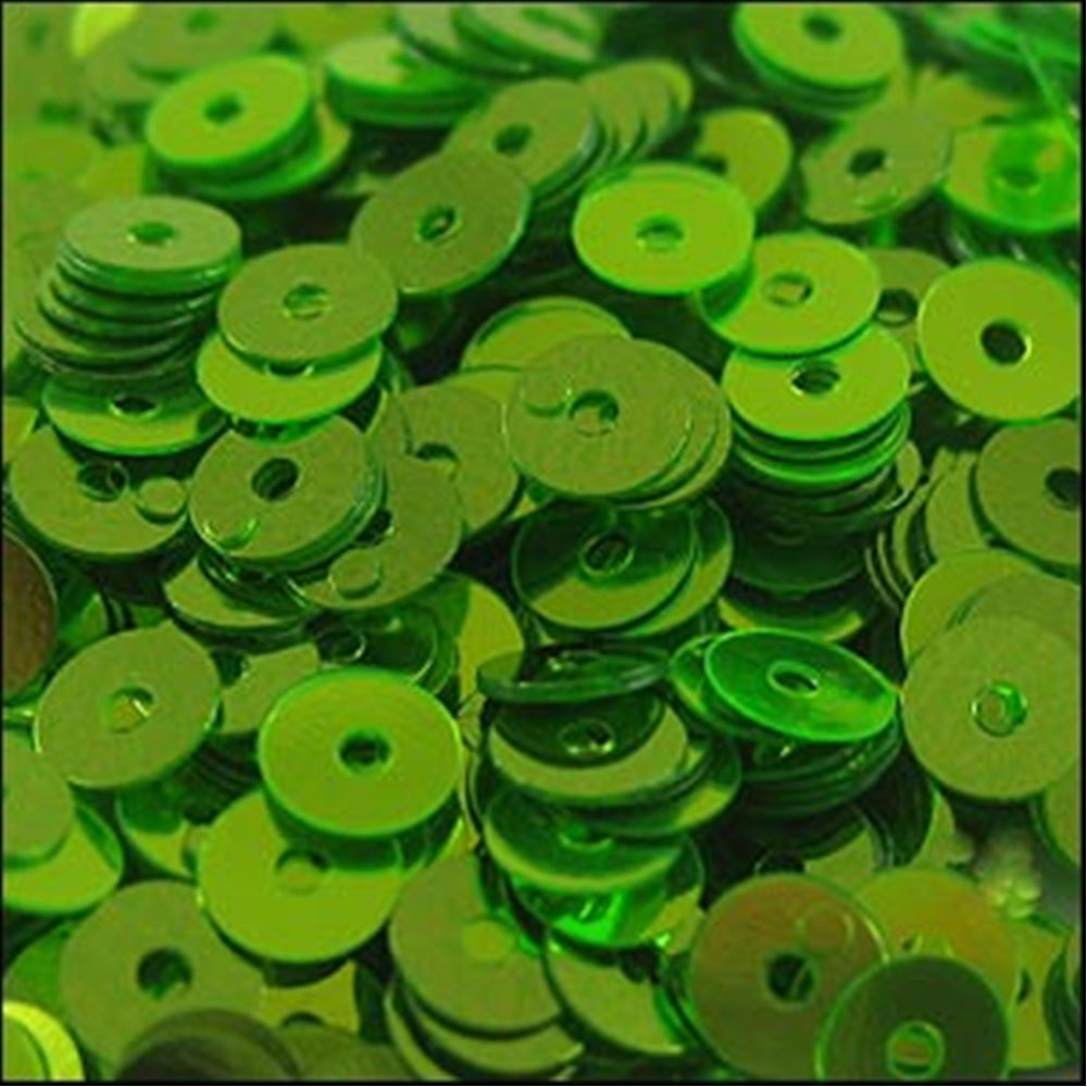 Metallic Lime Green Flat Sequins. 5mm