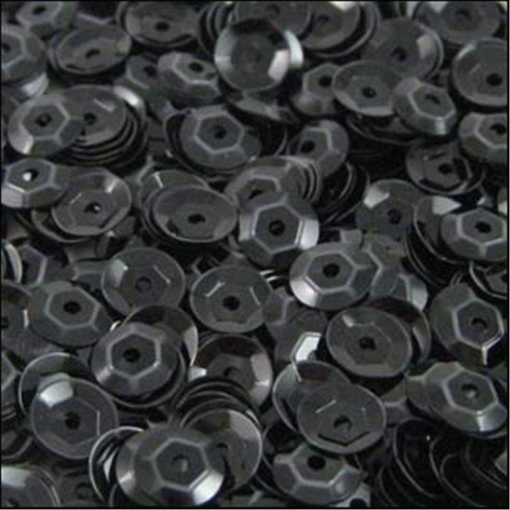 Glossy Black Cup Sequins. 5mm