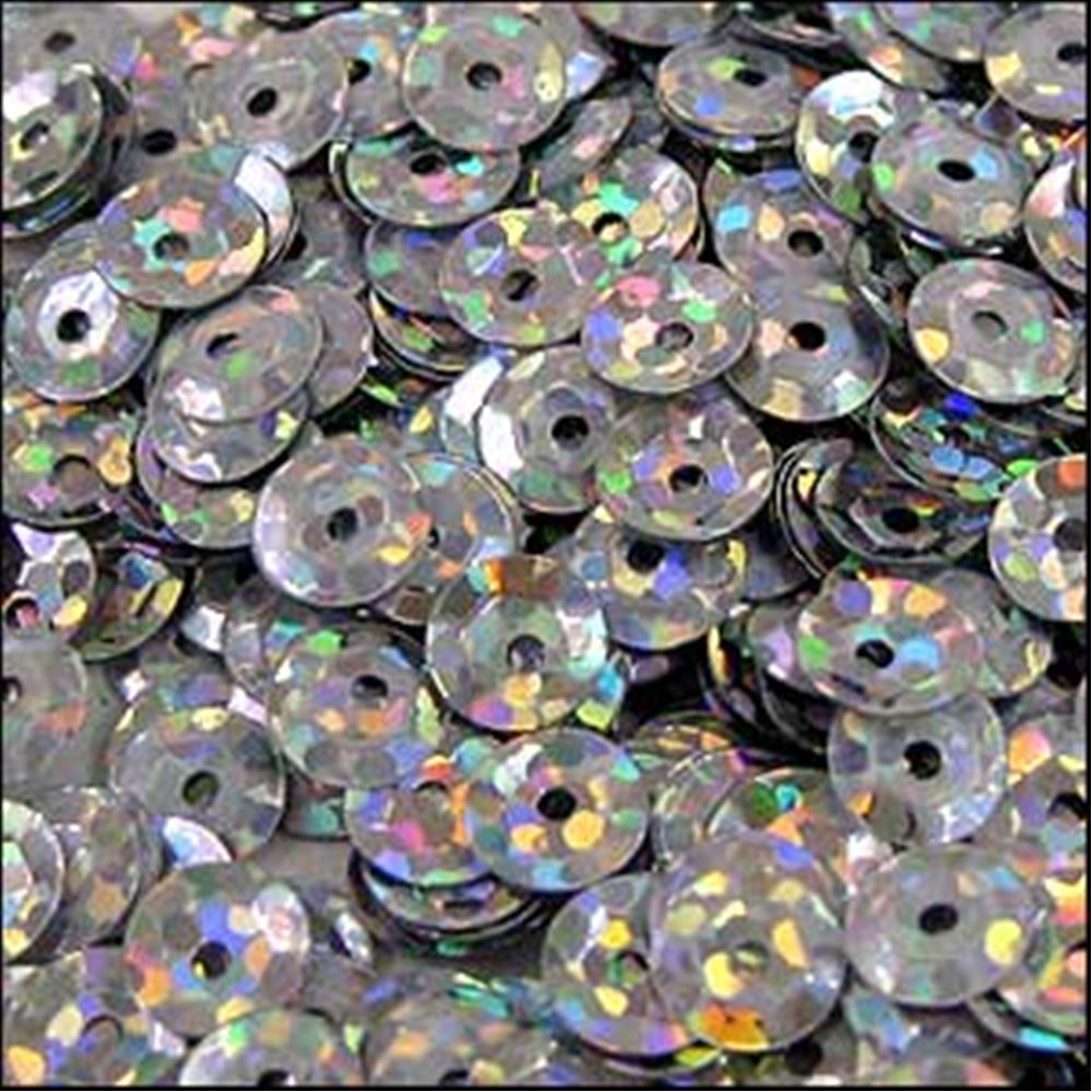 Hologram Silver Cup Sequins. 5mm