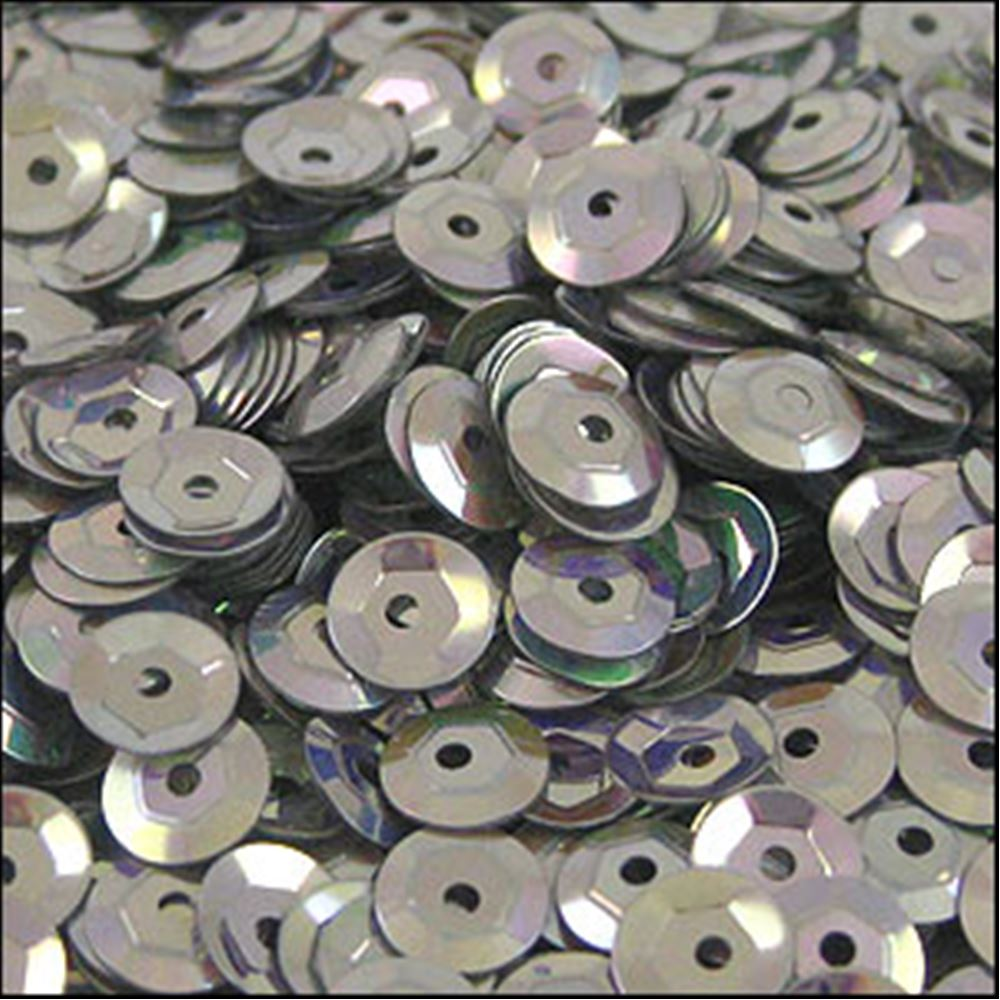 Metallic Antique Silver Cup Sequins. 5mm