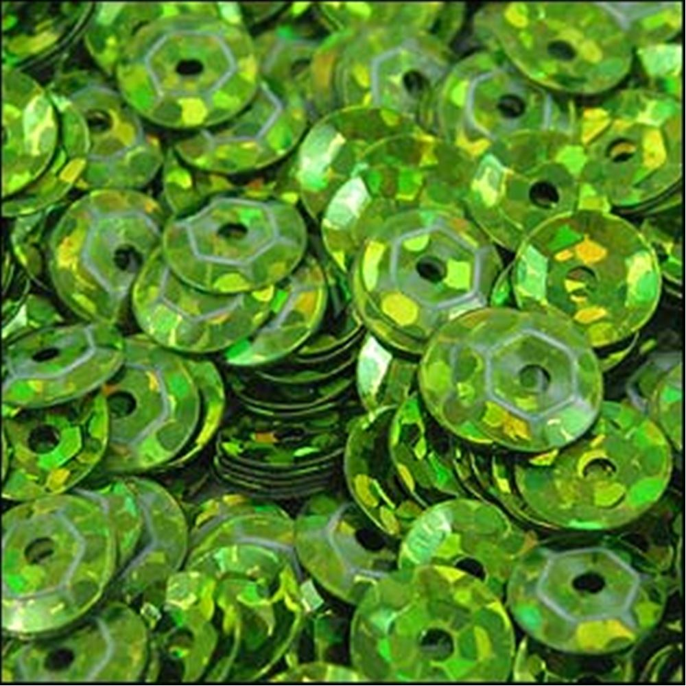 Hologram Lime Green Cup Sequins. 5mm