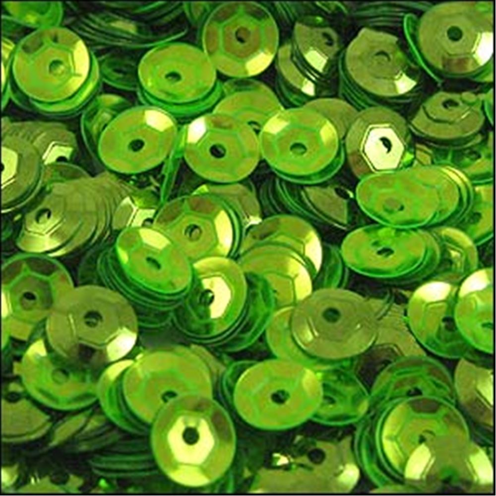 Metallic Lime Green Cup Sequins. 5mm
