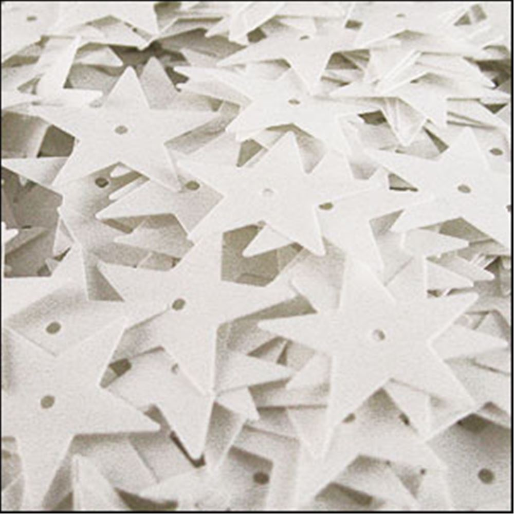 Glossy White Star Sequins. 15mm