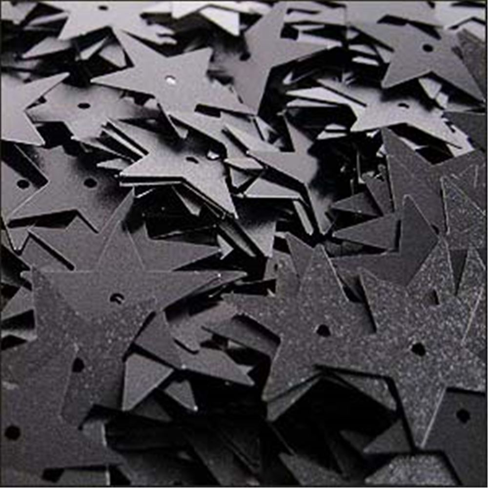 Matte Black Star Sequins. 15mm