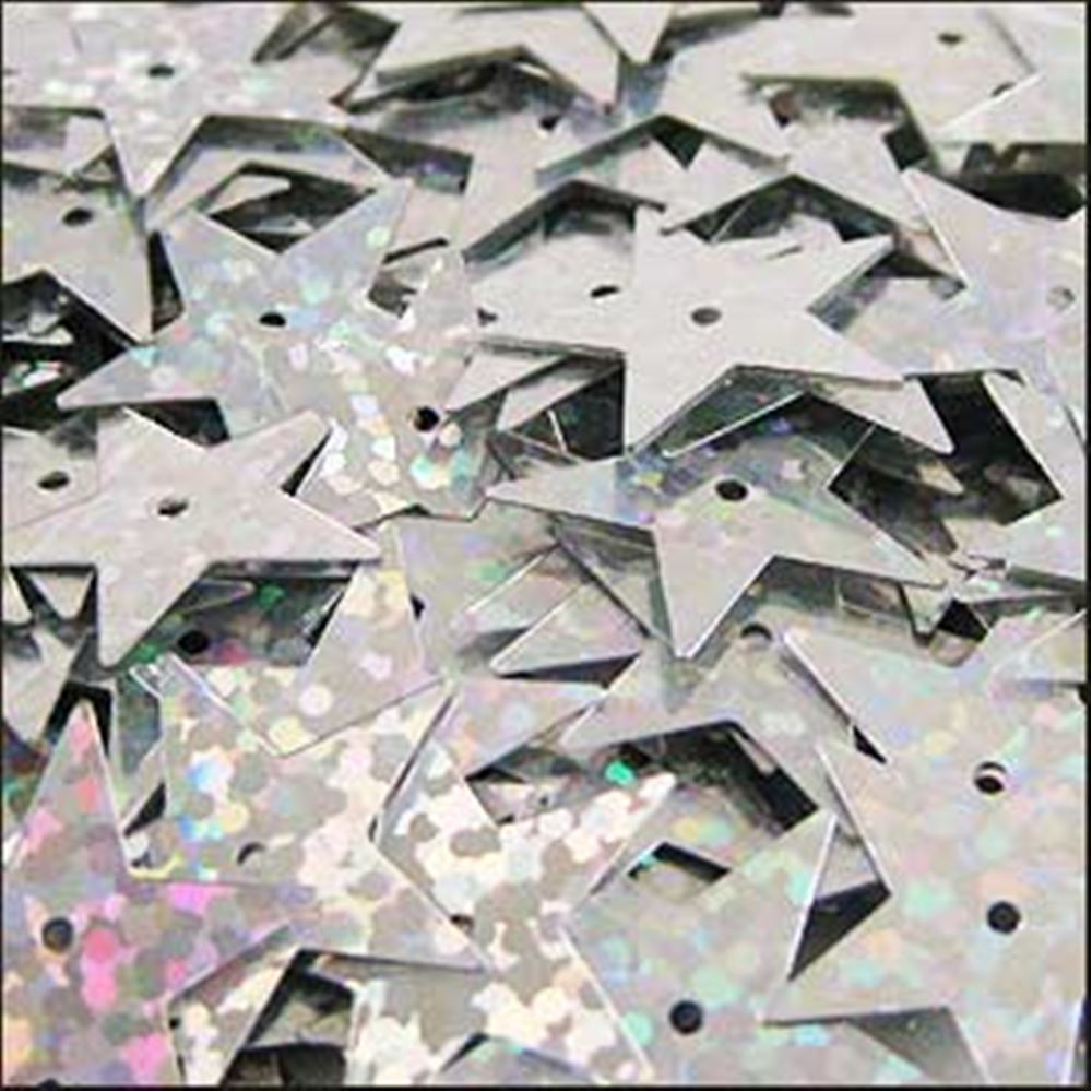 Hologram Silver Star Sequins. 15mm