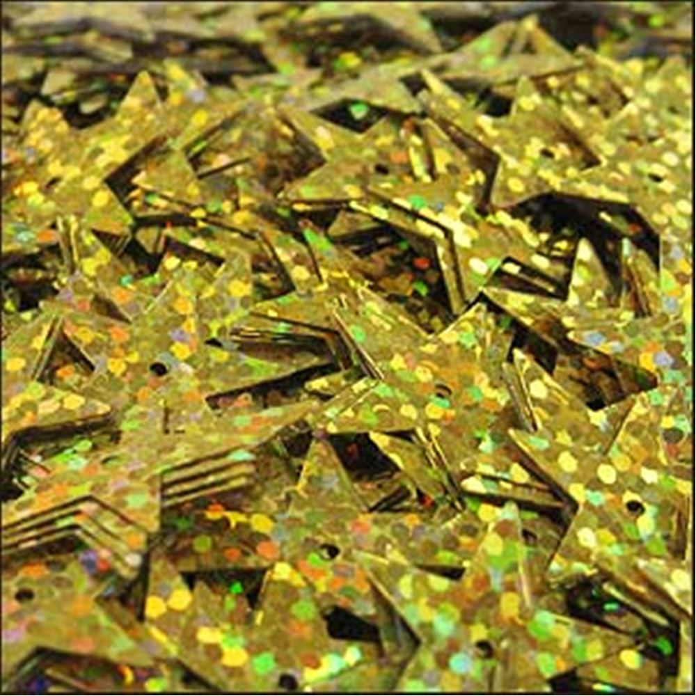 Hologram Gold Star Sequins. 15mm