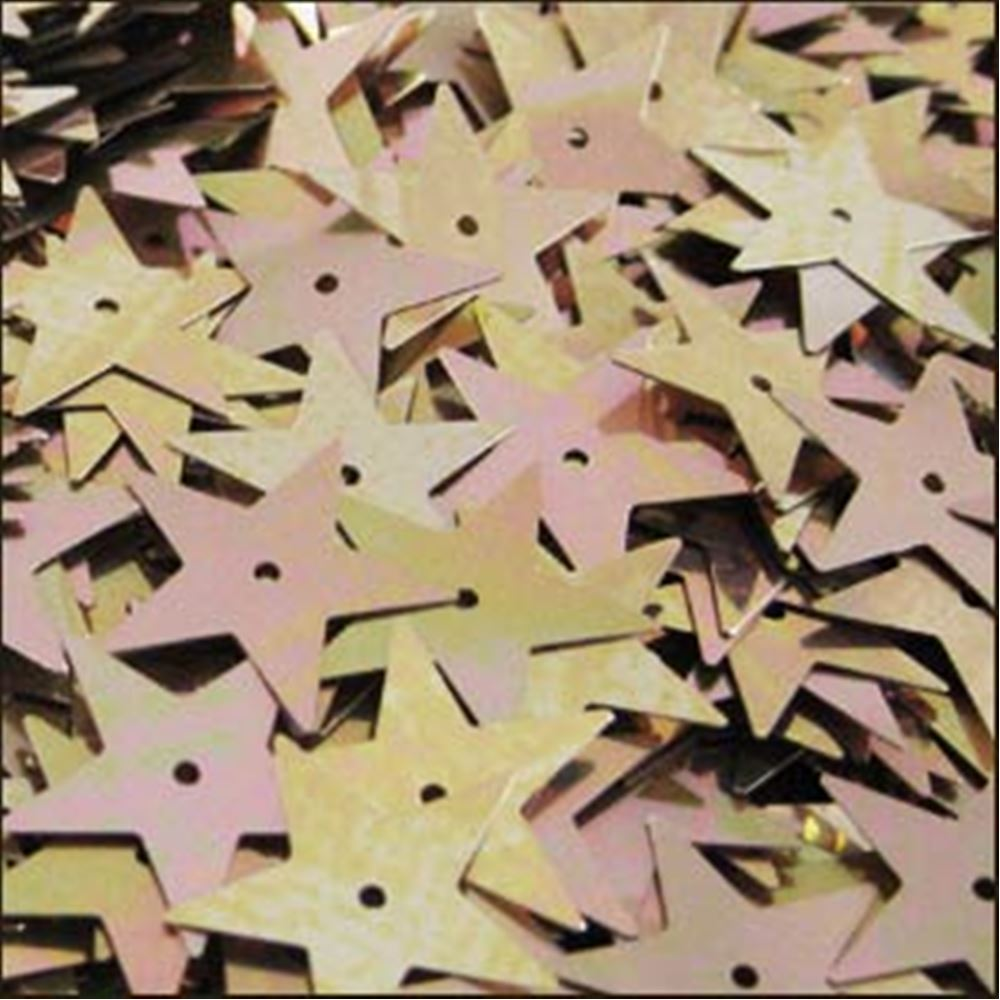 Metallic Antique Gold Star Sequins. 15mm