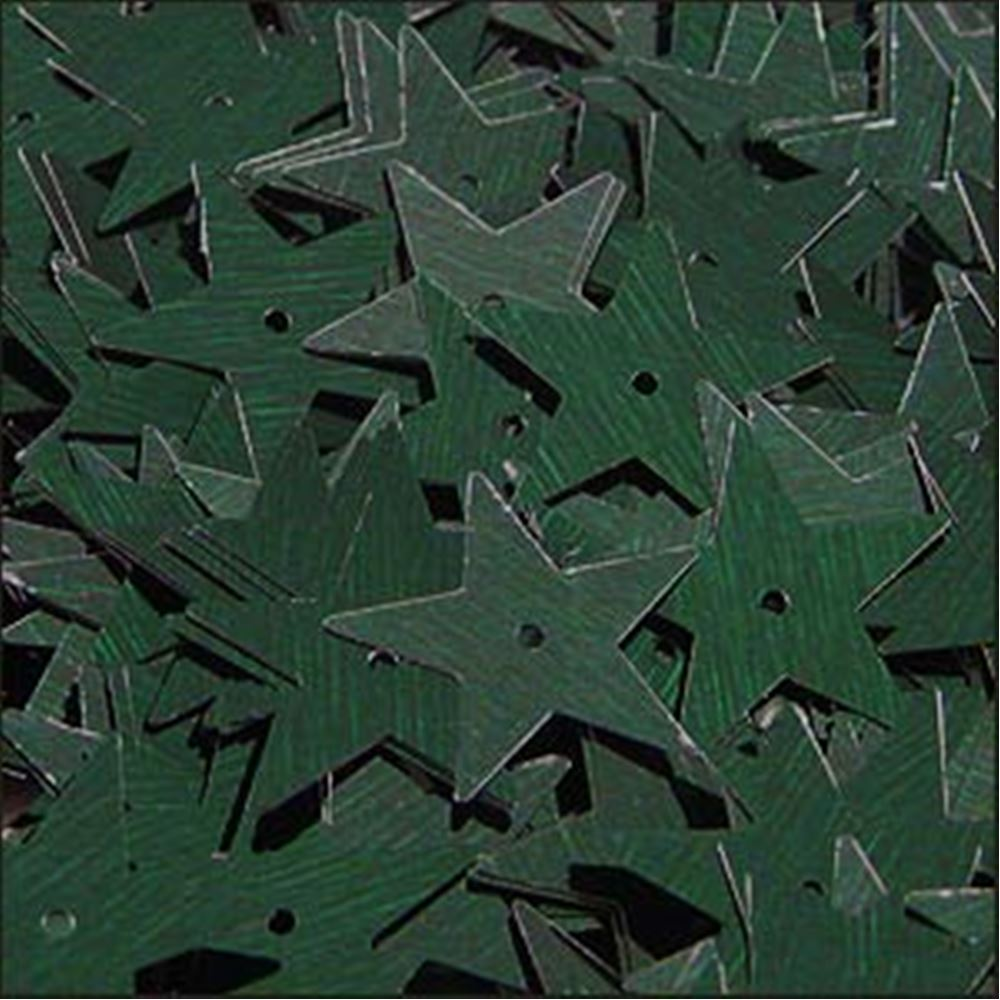 Metallic Forest Green Star Sequins. 15mm