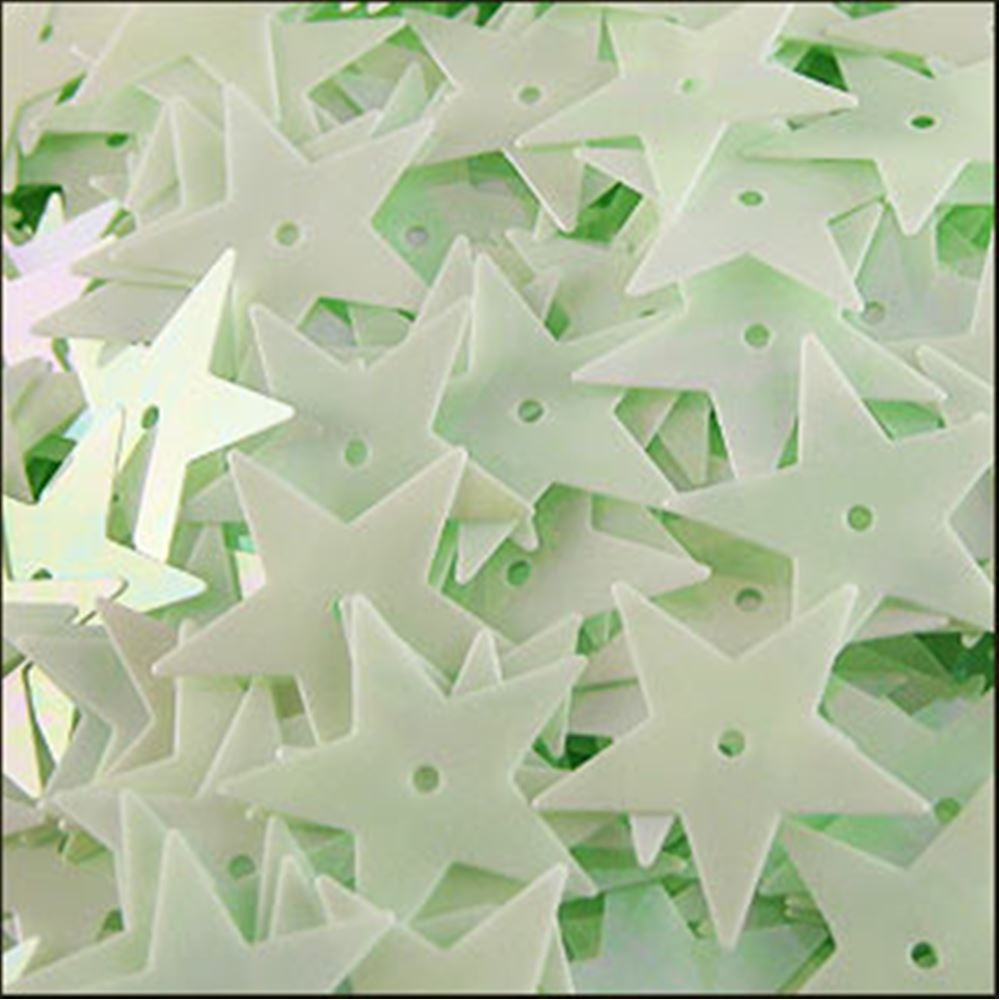 Glossy Green Opal Star Sequins. 15mm