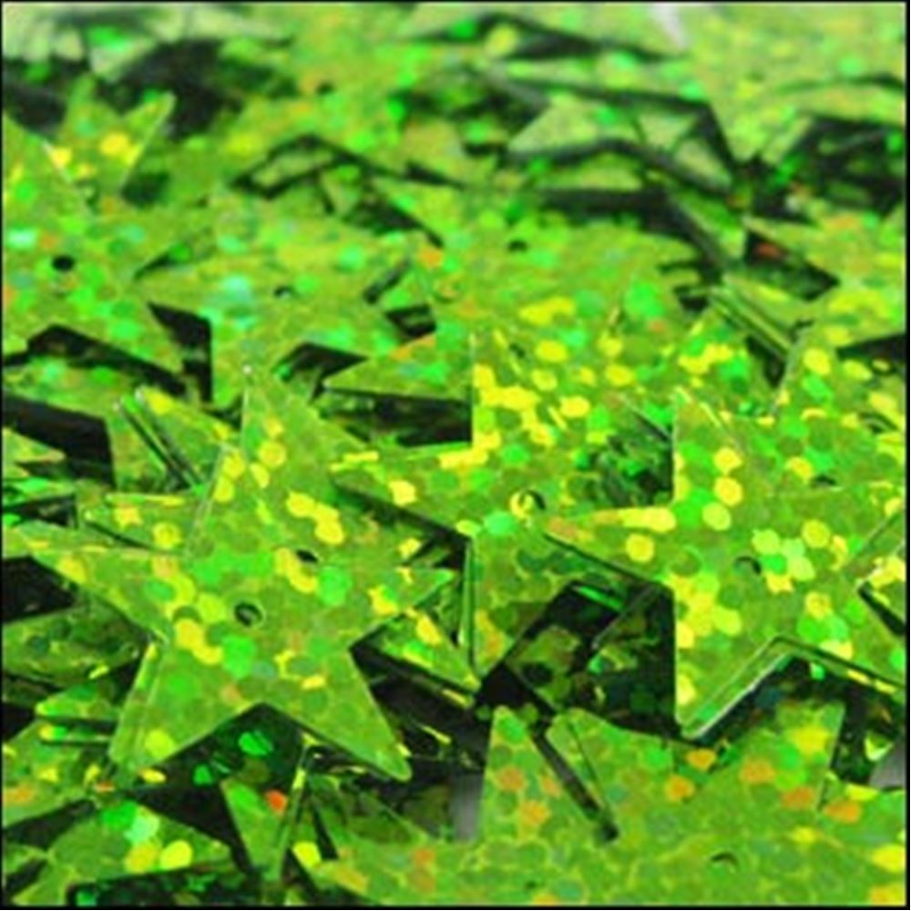 Hologram Lime Green Star Sequins. 15mm