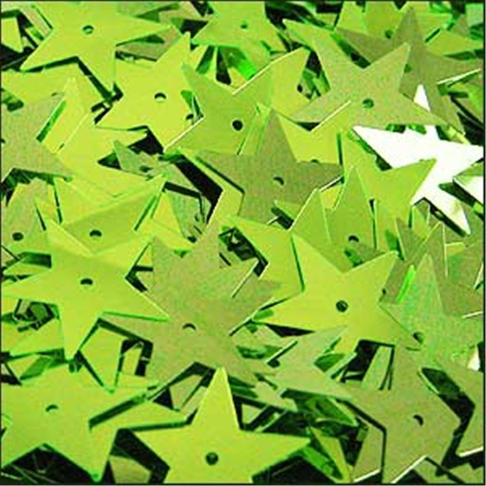 Metallic Lime Green Star Sequins. 15mm