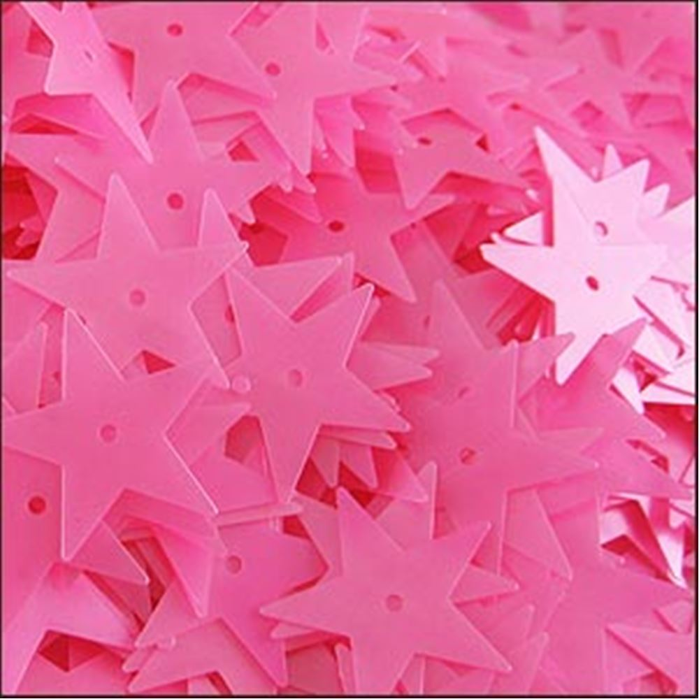 Satin Barbie Pink Star Sequins. 15mm