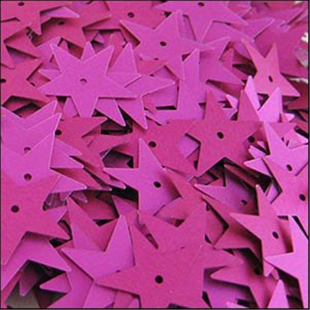 Matte Fuchsia Star Sequins. 15mm