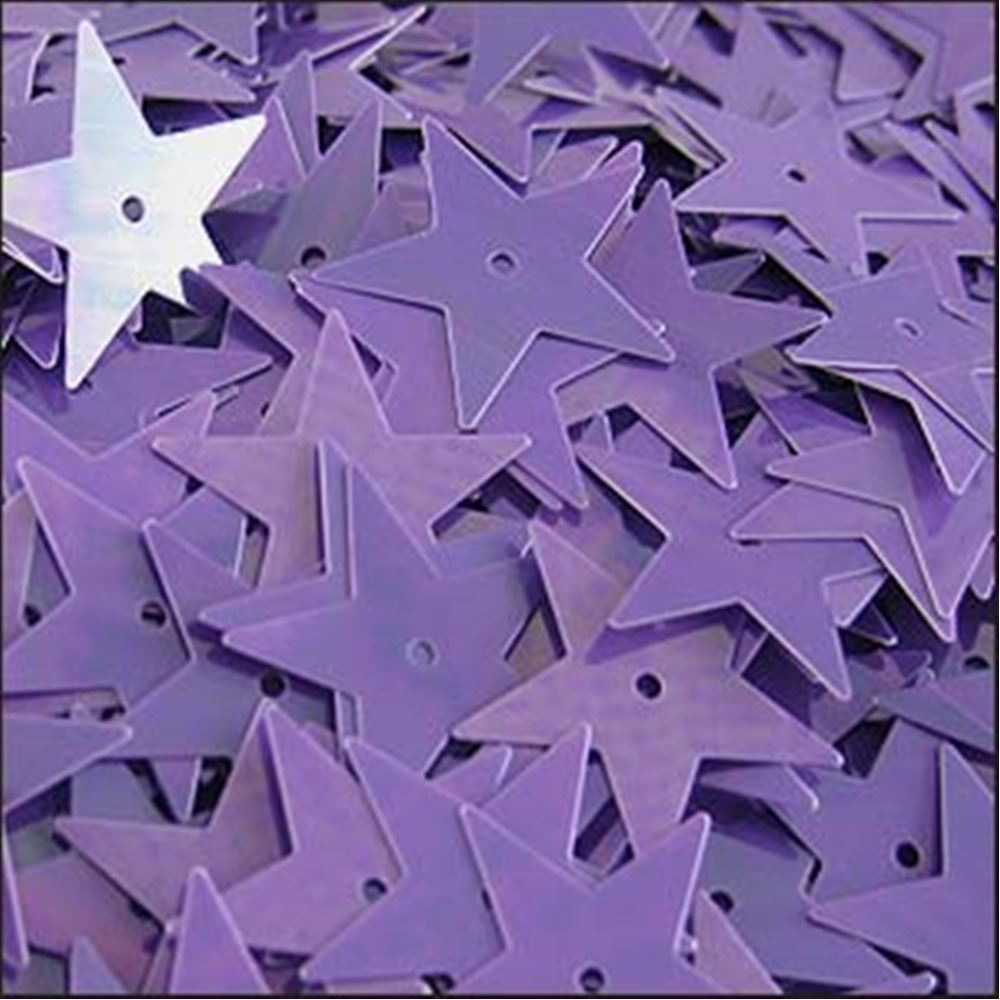 Glossy Amethyst Star Sequins. 15mm