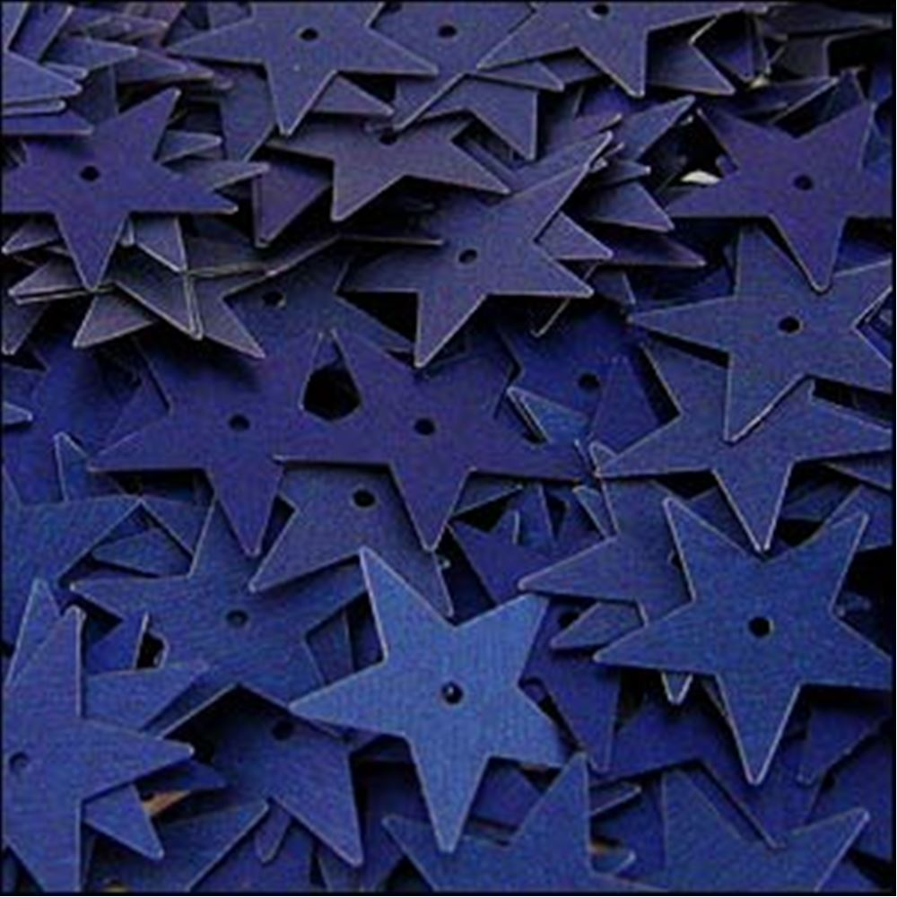Matte Navy Blue Star Sequins. 15mm