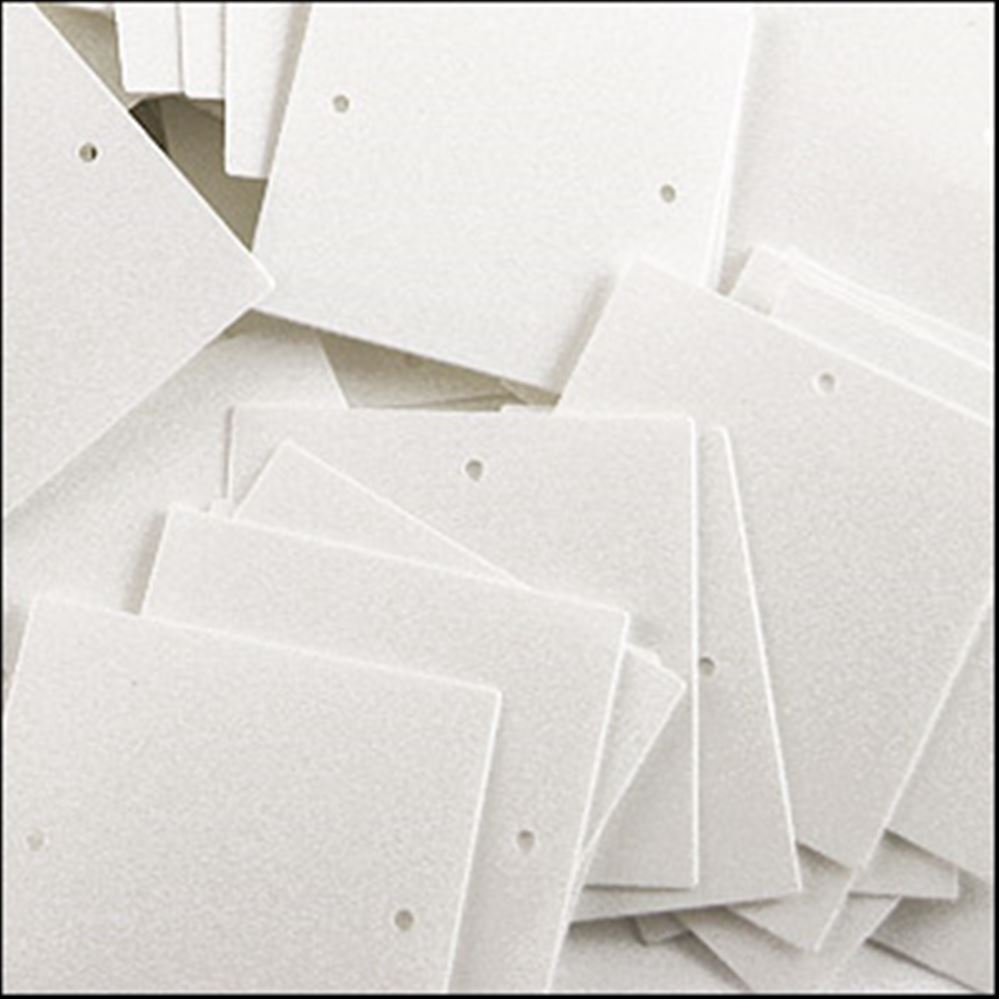 Glossy White Square Sequins. 25mm