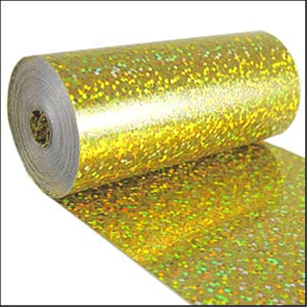 Hologram Yellow Sequin Film. 5m Roll