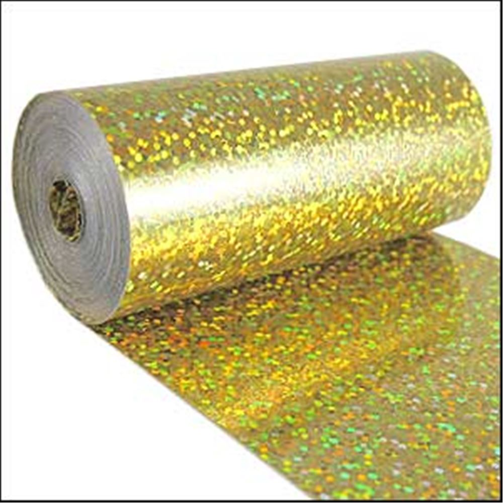 Hologram Gold Sequin Film. 5m Roll