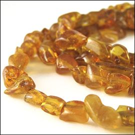 Amber Chips Semi-Precious Beads. 13x7mm