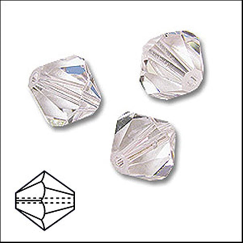 Diamond Shaped Faceted Glass Beads. 6mm