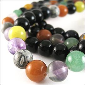 Mixed Stone Semi-Precious Beads. 10mm