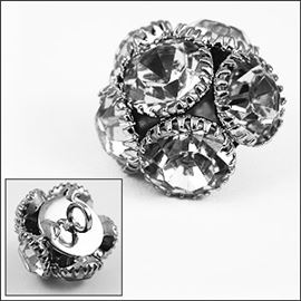 Round 6 Piece Half Ball Diamante Button. 15mm