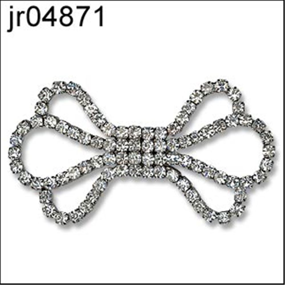 Bow Shaped Diamante Clasp Fastener.  66mm