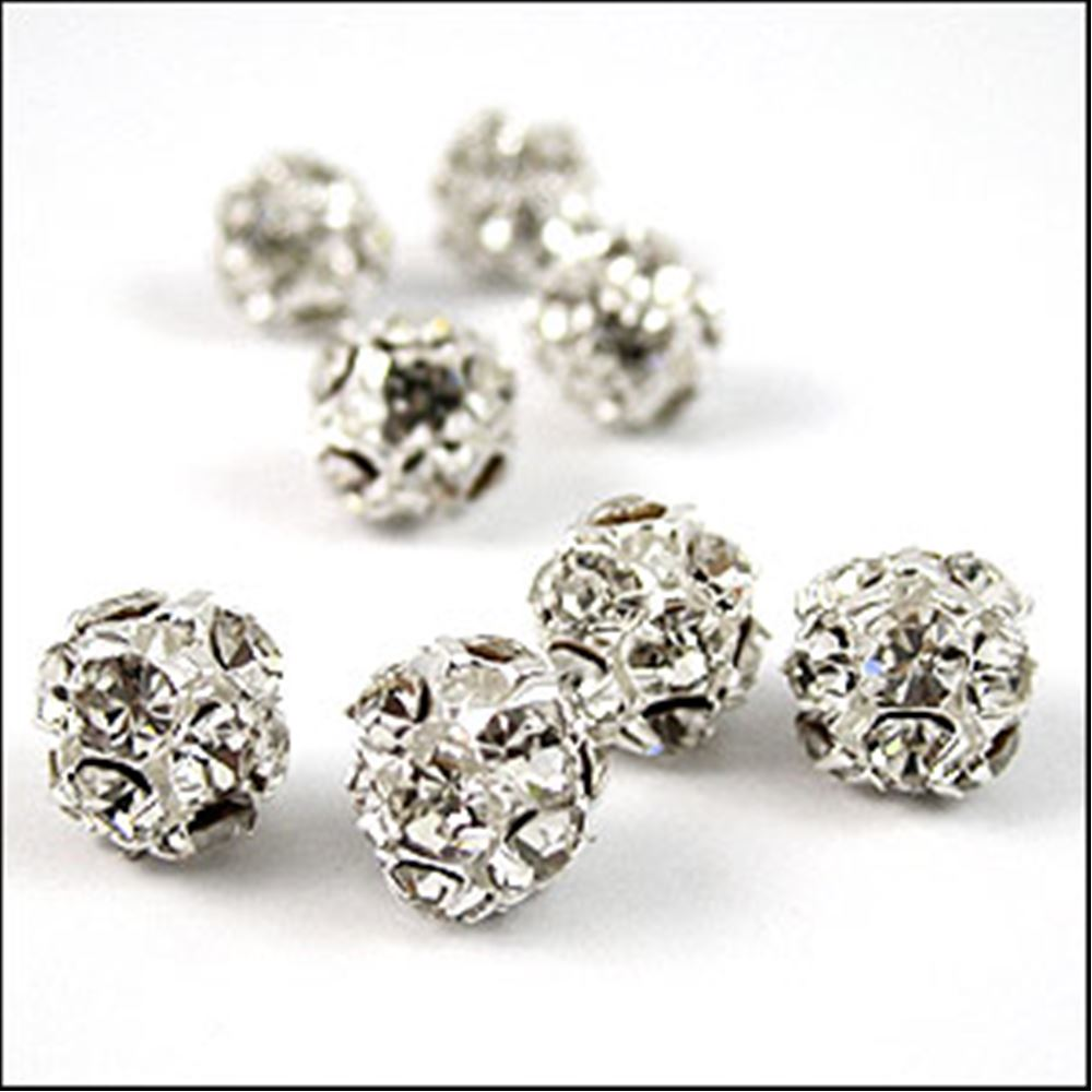 Diamante Encrusted Bead - Crystal/Silver 7mm