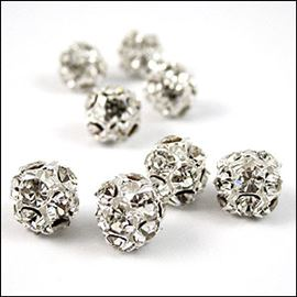 Diamante Encrusted Bead - Crystal/Silver 10mm