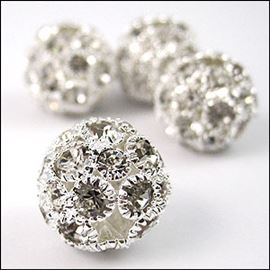 Diamante Encrusted Sphere Bead - Crystal/Silver 18mm