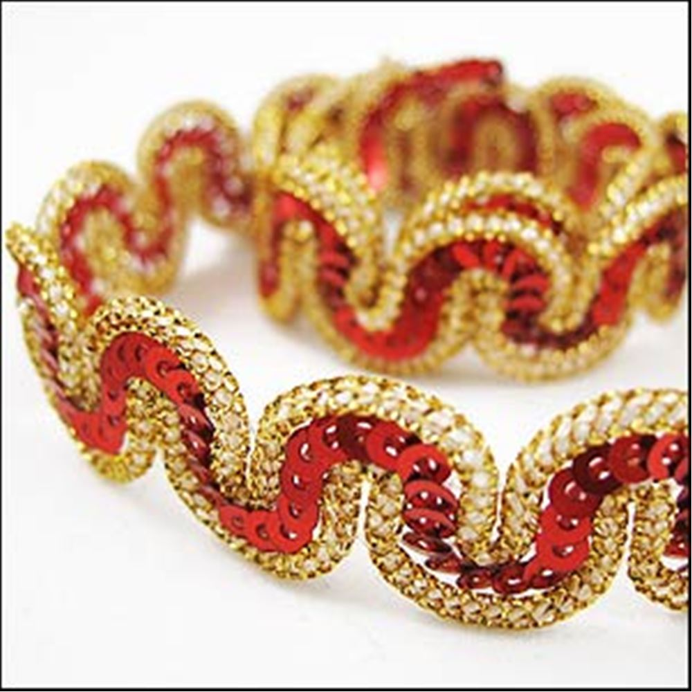 Red And Gold Snaking Sequin And Lurex Thread Trim. 14mm
