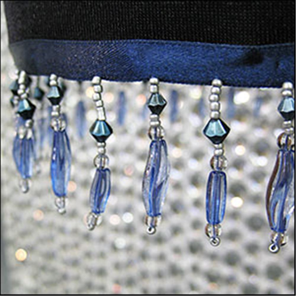 Twisted Bead Fringing. Blue 44mm.