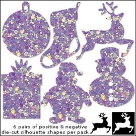 Contemporary Festive Glitter Die Cuts - Lilac