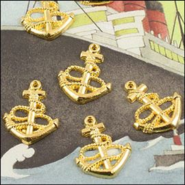 Gold Plated Anchor Charm. 15mm.