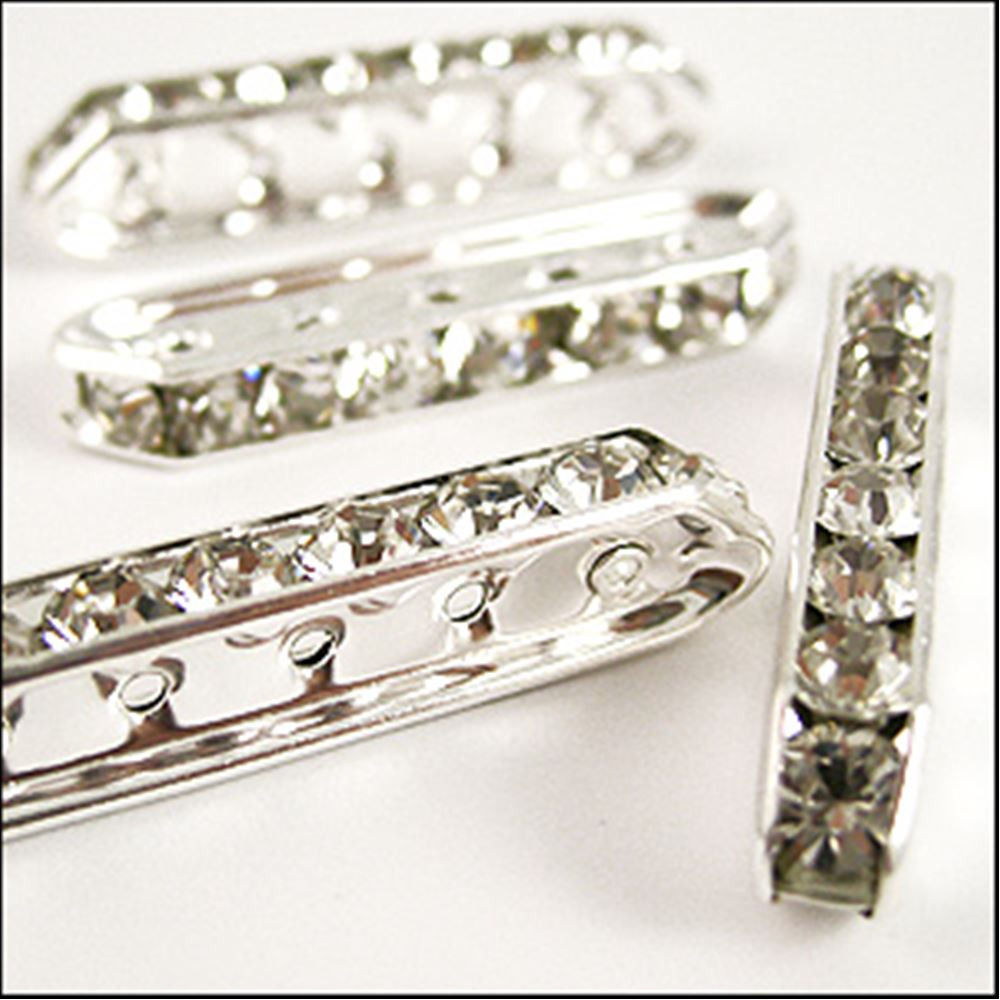 Diamanté Trapezium Spacer Bars. Silver 35 X 8mm. Pack Of 4.