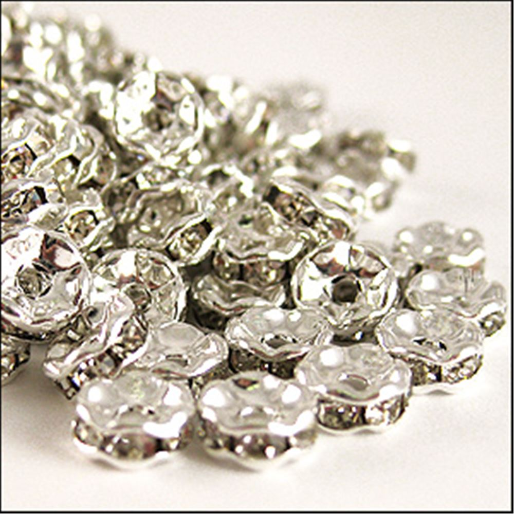 Diamanté Rondelle Spacer Beads. 6mm. Pack Of 6.