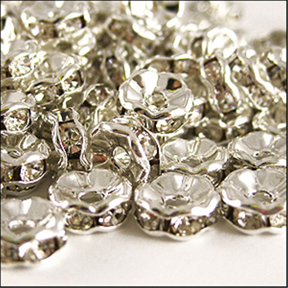 Diamanté Rondelle Spacer Beads. 8mm. Pack Of 4.