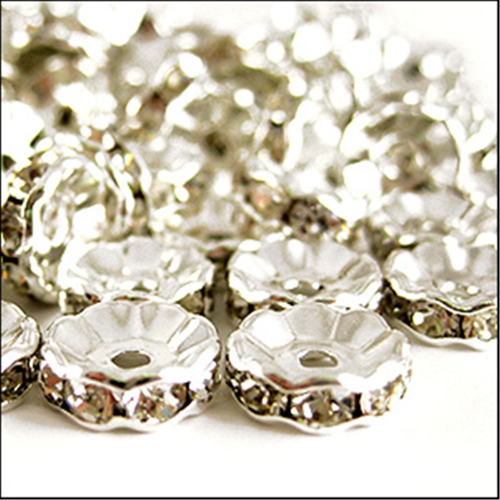 Diamanté Rondelle Spacer Beads. 10mm. Pack Of 4.