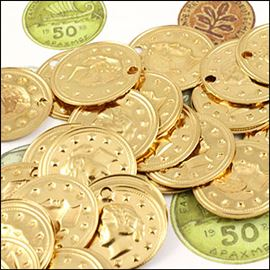 Roman Coin Charms X 10. Vintage Gold. 16mm.