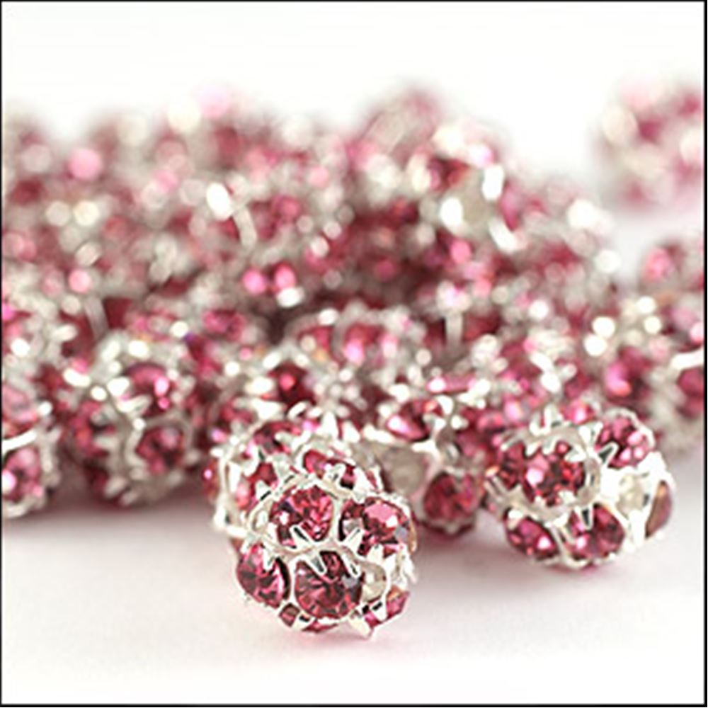 Diamante Encrusted Bead - Rose/Silver 7mm