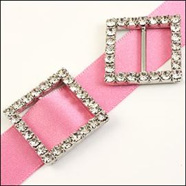 Square Diamante Buckle - Crystal 23mm X 23mm