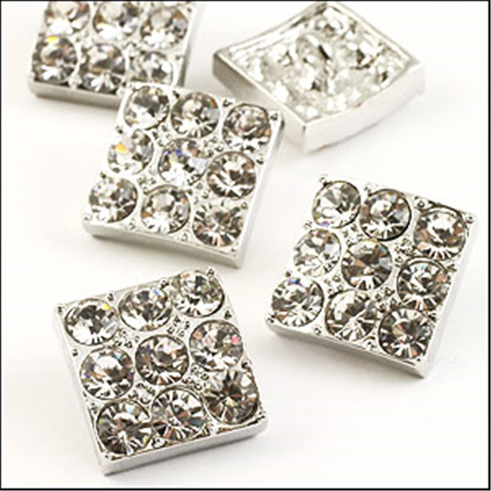 Square Diamante Button - Crystal 13mm X 13mm