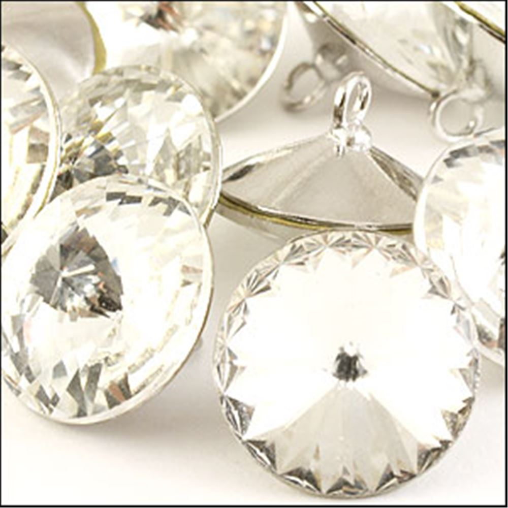 Diamante Button - Crystal 12mm