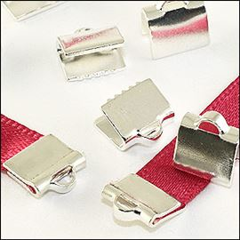 Ribbon End Clips Pack Of 2 - Silver Plated. 15mm