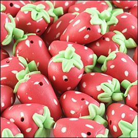 Strawberry Bead - Red/Green 20mm X 10mm.
