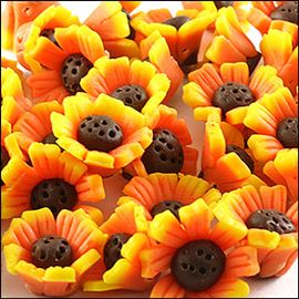 Sun Flowers. Handmade Polymer Clay Bead - 9mm