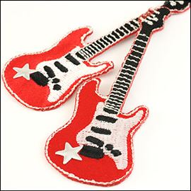 Electric Guitar Motif. Red - 82mm X 26mm