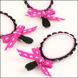 Princess Mirror Motif. Pink/Black - 36mm X 19mm