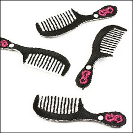 Princess Comb Motif. Pink/Black - 34mm X 11mm