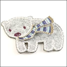 Polar Bear & Scarf. Grey - 55mm X 40mm